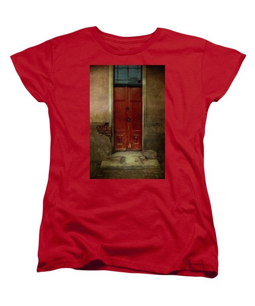 Old Wooden Gate Painted In Red  Women's T-Shirt (Standard Cut) by Jaroslaw Blaminsky