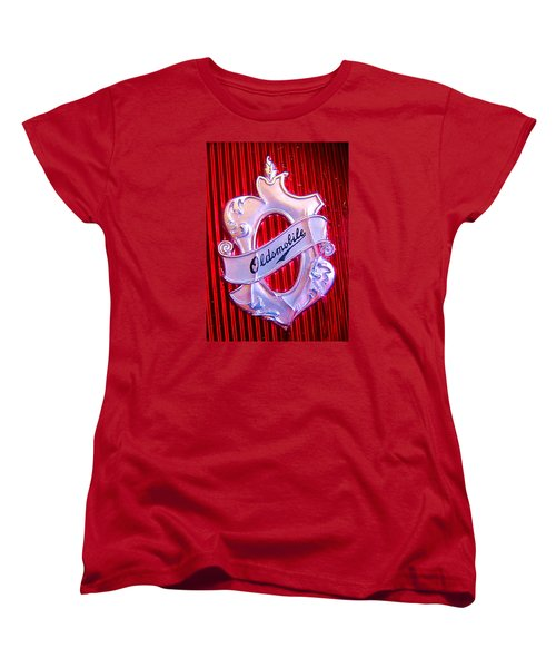 Women's T-Shirt (Standard Cut) featuring the photograph Oldsmobile Emblem. by John King