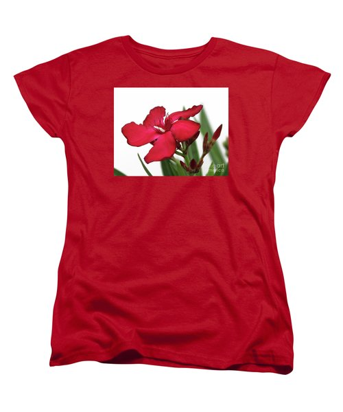 Women's T-Shirt (Standard Cut) featuring the photograph Oleander Blood-red Velvet 2 by Wilhelm Hufnagl