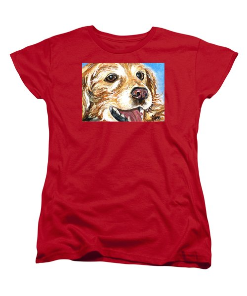 Women's T-Shirt (Standard Cut) featuring the painting Oliver From Muttville by Mary-Lee Sanders
