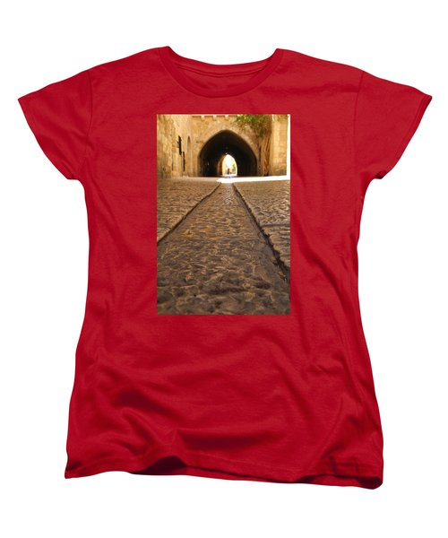 Women's T-Shirt (Standard Cut) featuring the photograph On The Way To The Western Wall - The Kotel - Old City, Jerusalem, Israel by Yoel Koskas