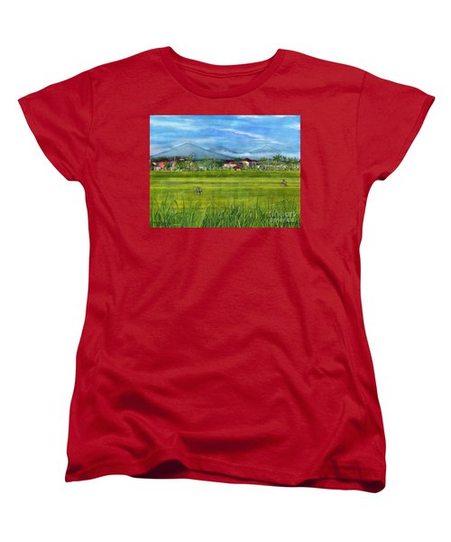Women's T-Shirt (Standard Cut) featuring the painting On The Way To Ubud 3 Bali Indonesia by Melly Terpening