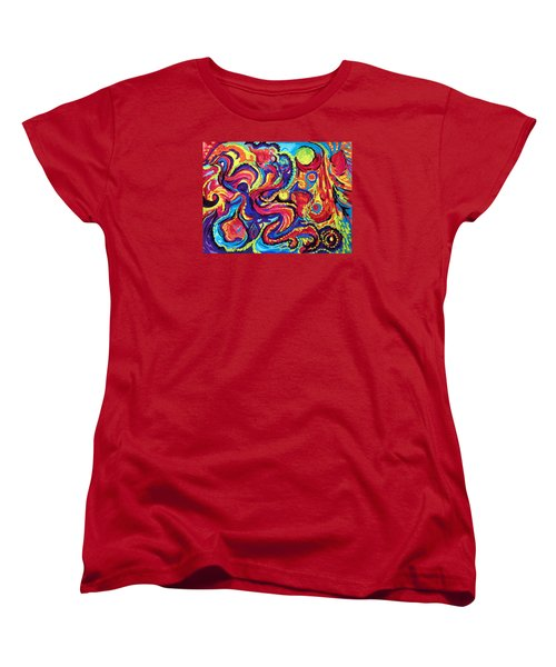 Women's T-Shirt (Standard Cut) featuring the painting Birth by Marina Petro