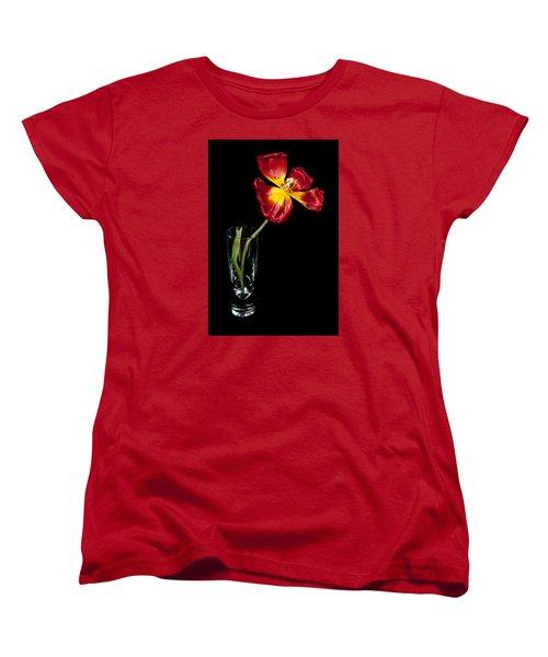 Open Red Tulip In Vase Women's T-Shirt (Standard Cut) by Helen Northcott