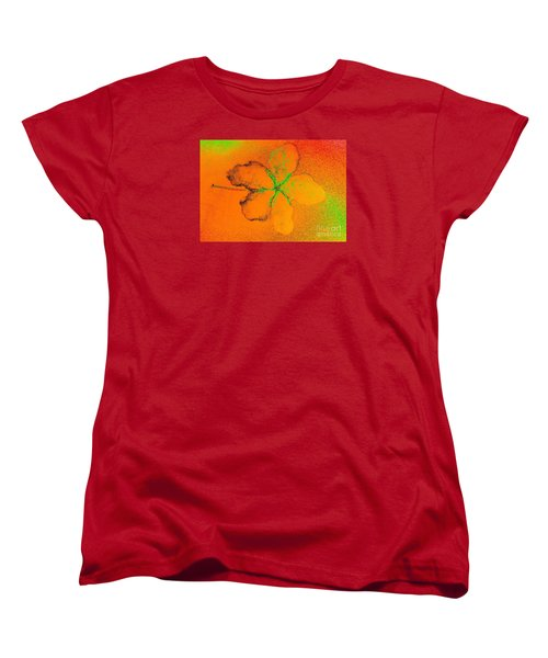 Orange Abstract Flower By Jasna Gopic Women's T-Shirt (Standard Cut) by Jasna Gopic