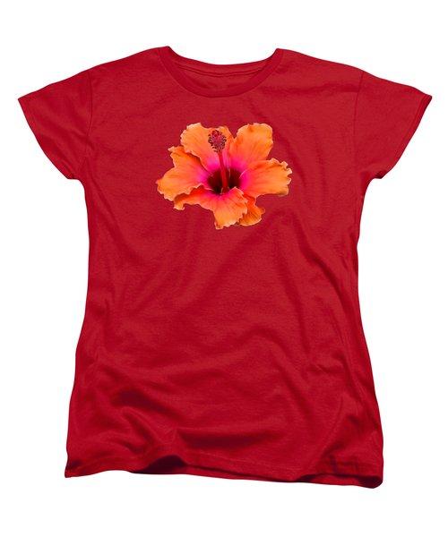 Orange And Pink Hibiscus Women's T-Shirt (Standard Cut) by Pamela Walton