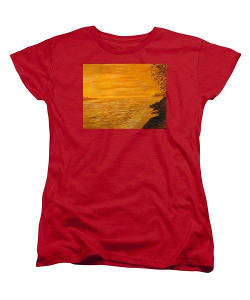 Women's T-Shirt (Standard Cut) featuring the painting Orange Beach by Ian  MacDonald