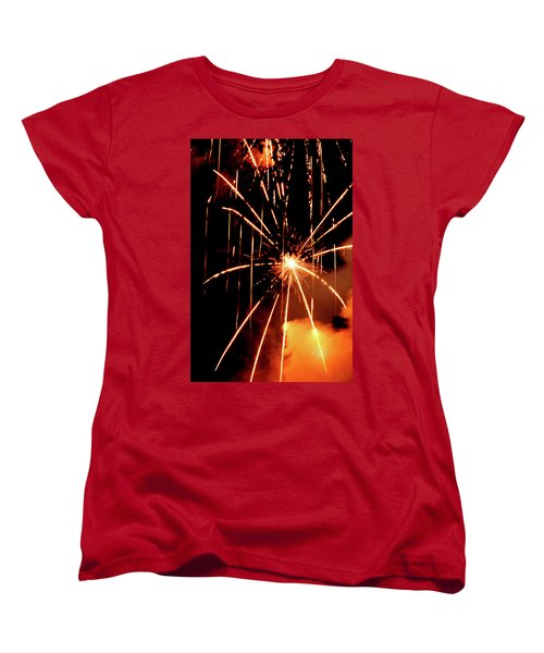 Women's T-Shirt (Standard Cut) featuring the photograph Orange Chetola Fireworks by Meta Gatschenberger