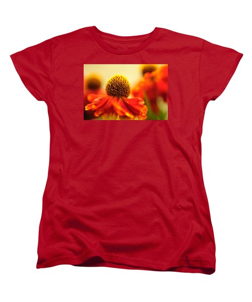 Women's T-Shirt (Standard Cut) featuring the photograph Orange Glow. Rudbeckia Macro by Jenny Rainbow