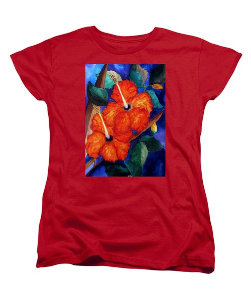 Orange Hibiscus Women's T-Shirt (Standard Cut) by Lil Taylor