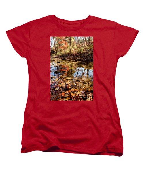 Orange Leaves Women's T-Shirt (Standard Cut) by Iris Greenwell