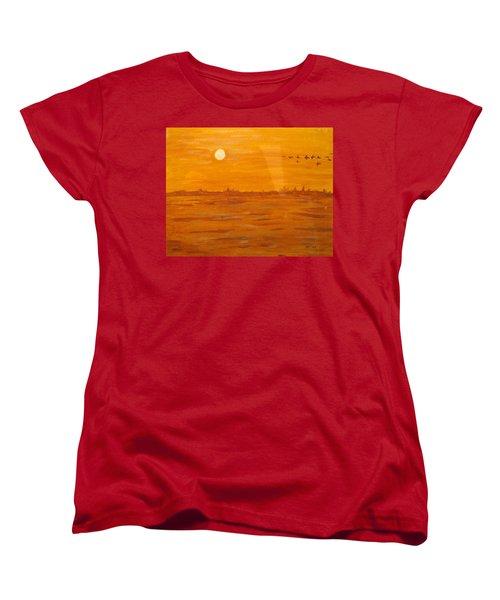 Women's T-Shirt (Standard Cut) featuring the painting Orange Ocean by Ian  MacDonald
