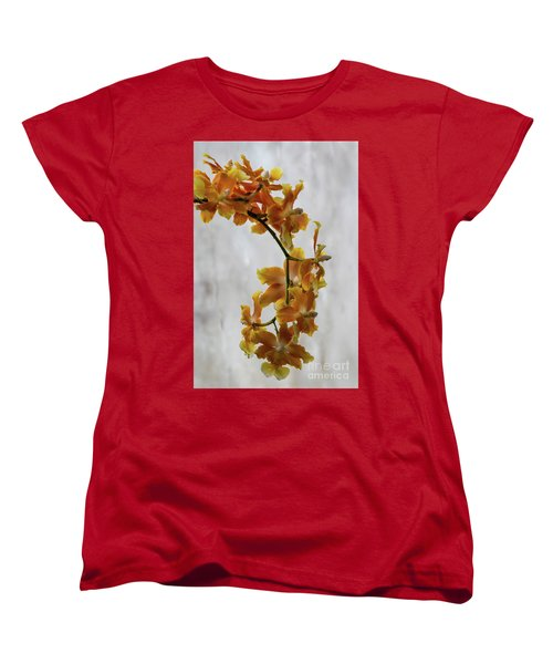 Orange Orchids Women's T-Shirt (Standard Cut) by Darleen Stry