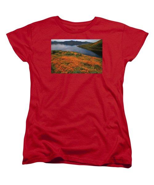 Women's T-Shirt (Standard Cut) featuring the photograph Orange Poppy Fields At Diamond Lake In California by Jetson Nguyen