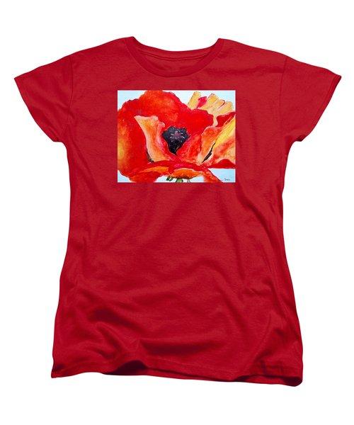 Orange Poppy Women's T-Shirt (Standard Cut) by Jamie Frier