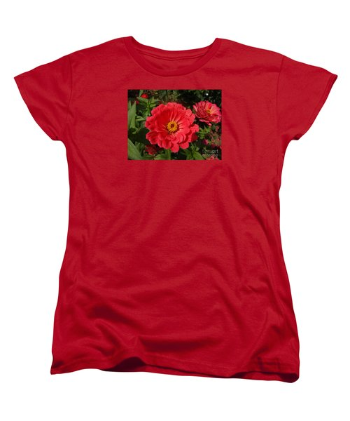 Women's T-Shirt (Standard Cut) featuring the photograph Orange Red Zinnia by Rod Ismay