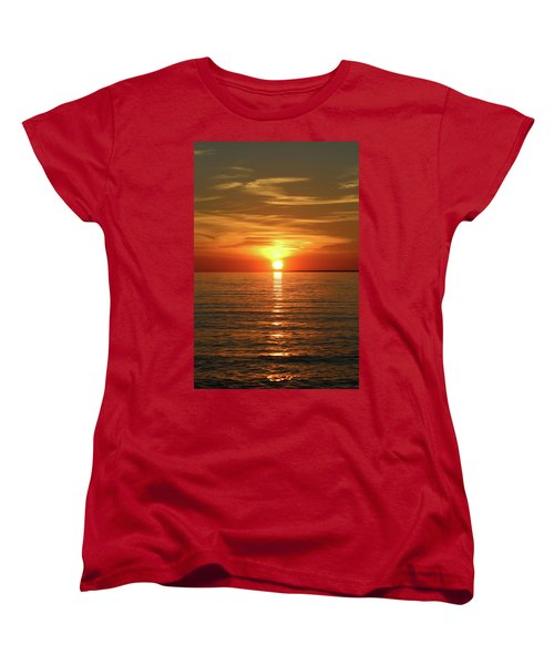 Women's T-Shirt (Standard Cut) featuring the photograph Orange Sunset Lake Superior by Paula Brown