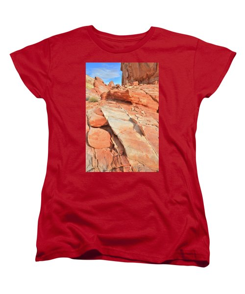 Orange Valley In Valley Of Fire Women's T-Shirt (Standard Cut) by Ray Mathis