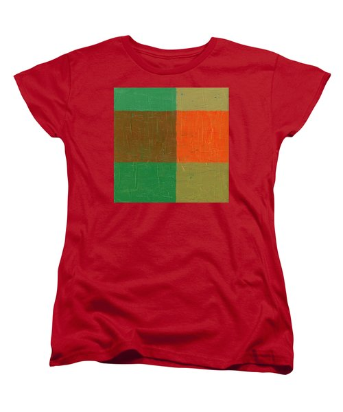 Orange With Brown And Teal Women's T-Shirt (Standard Cut) by Michelle Calkins