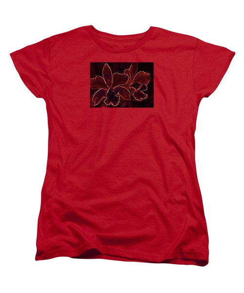 Women's T-Shirt (Standard Cut) featuring the digital art Orchids - For Pele by Kerri Ligatich