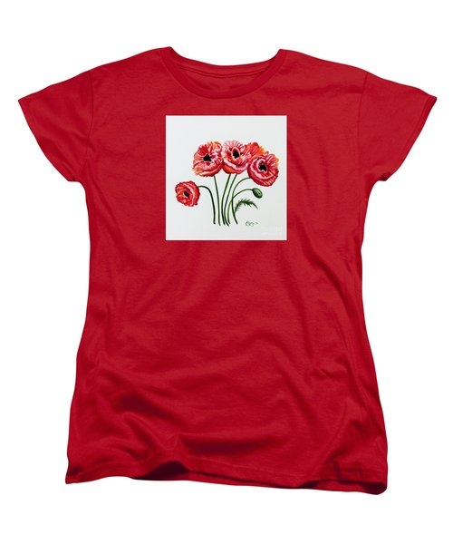 Women's T-Shirt (Standard Cut) featuring the painting Oriental Poppies by Elizabeth Robinette Tyndall