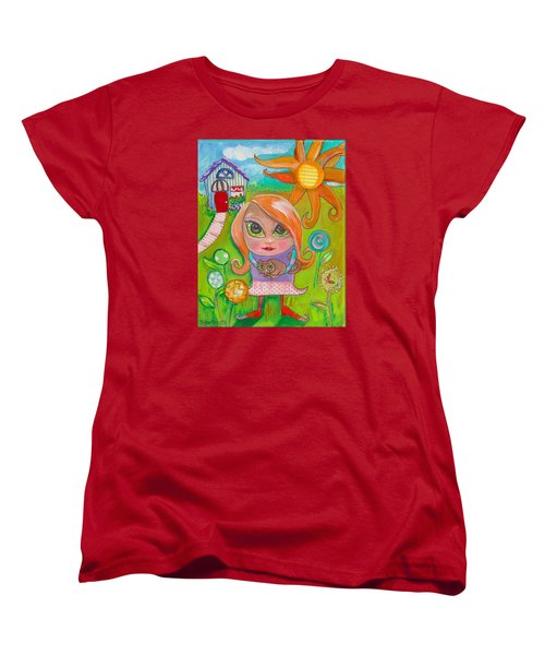Original Art Girl And The Cat -with Flowers Women's T-Shirt (Standard Cut) by Shelley Overton