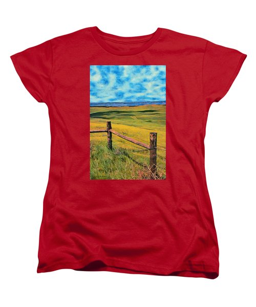 Women's T-Shirt (Standard Cut) featuring the painting Other Side Of The Fence by Jeff Kolker
