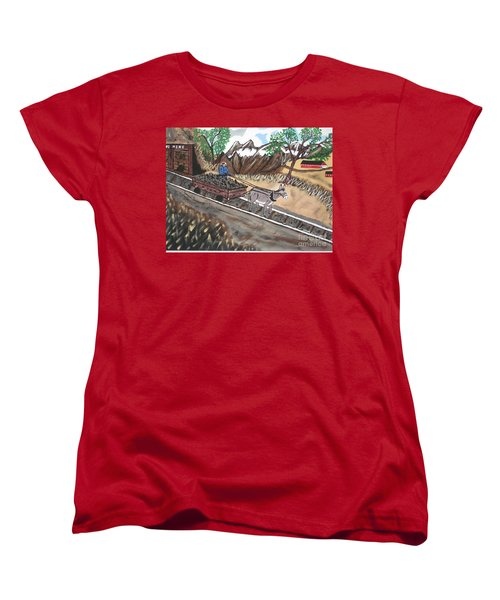 Women's T-Shirt (Standard Cut) featuring the painting Out Of The Dark And Into The Blue Coal Mine by Jeffrey Koss