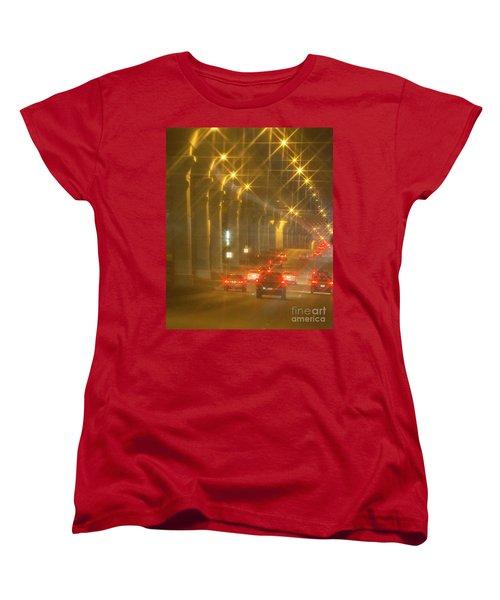 Women's T-Shirt (Standard Cut) featuring the photograph Overpass Traffic by Linda Phelps