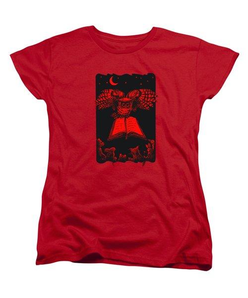 Owl And Friends Redblack Women's T-Shirt (Standard Cut) by Retta Stephenson