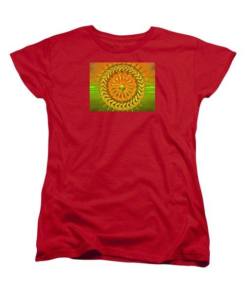 Women's T-Shirt (Standard Cut) featuring the digital art Paddlewheel Mandala by Mario Carini