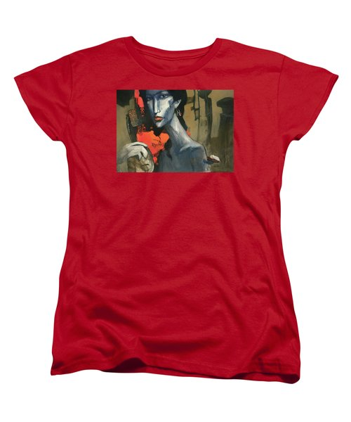 Painting Of The Lady _ 1 Women's T-Shirt (Standard Cut) by Behzad Sohrabi
