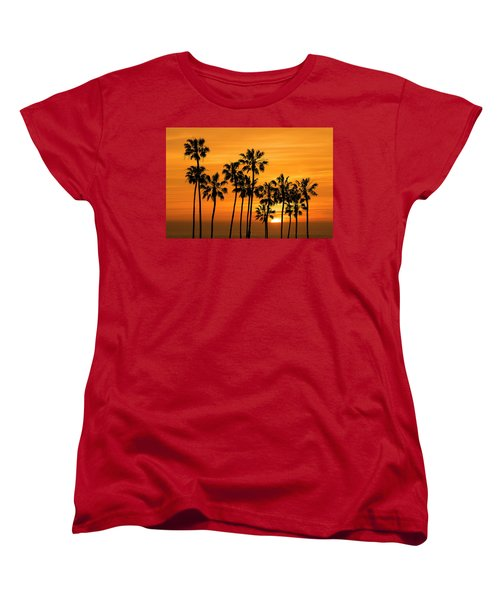 Women's T-Shirt (Standard Cut) featuring the photograph Palm Trees At Sunset By Cabrillo Beach by Randall Nyhof
