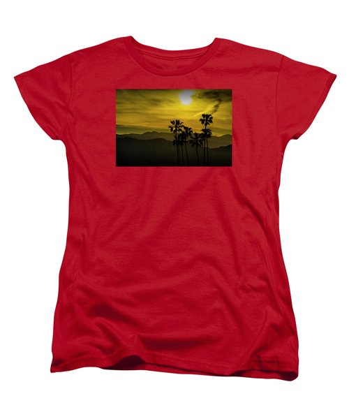 Women's T-Shirt (Standard Cut) featuring the photograph Palm Trees At Sunset With Mountains In California by Randall Nyhof