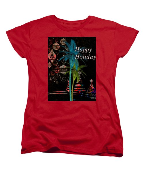 Women's T-Shirt (Standard Cut) featuring the digital art Palm Trees Happy Holidays by Megan Dirsa-DuBois