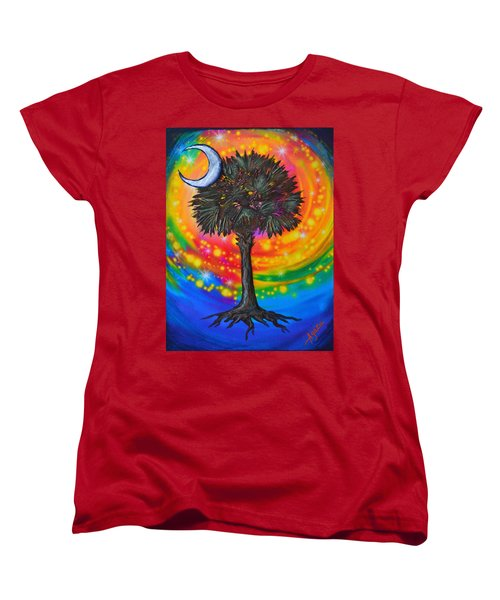 Palmetto Tree Of Life Women's T-Shirt (Standard Cut) by Agata Lindquist