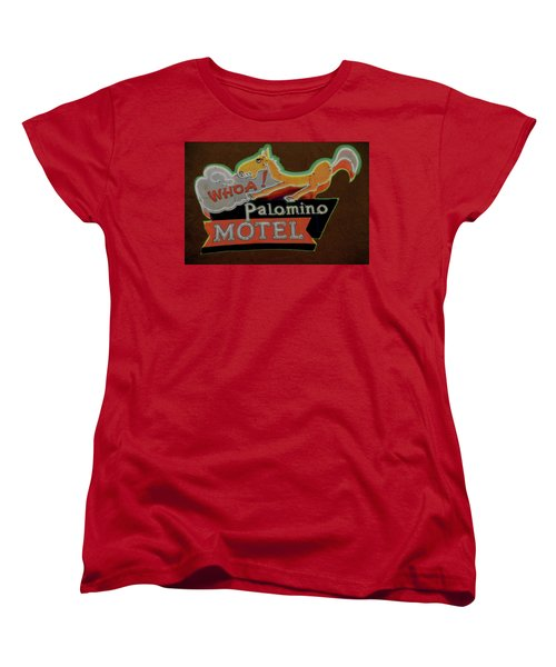 Women's T-Shirt (Standard Cut) featuring the photograph Palomino Motel by Jeff Burgess