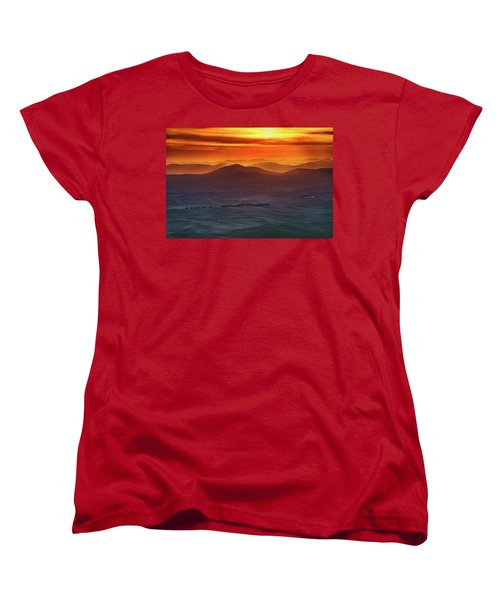 Palouse Sunrise  Women's T-Shirt (Standard Cut) by Ronald Spencer