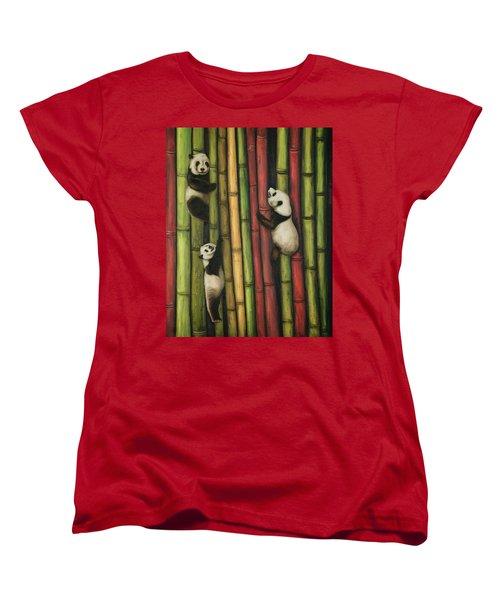 Pandas Climbing Bamboo Women's T-Shirt (Standard Cut) by Leah Saulnier The Painting Maniac