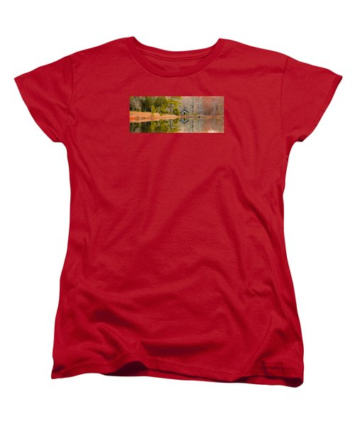 Panorama Of Cabin By The Lake Women's T-Shirt (Standard Cut) by Shelby  Young
