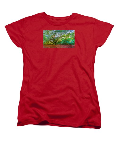 Panoramic Angel Oak Tree Charleston Sc Women's T-Shirt (Standard Cut) by John McGraw