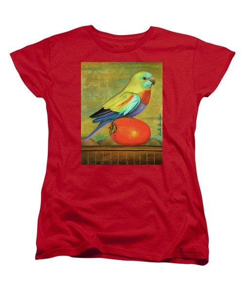 Parakeet On A Persimmon Women's T-Shirt (Standard Cut) by Leah Saulnier The Painting Maniac