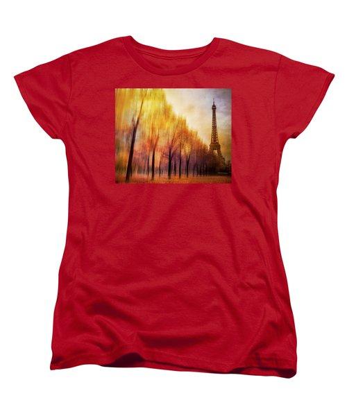 Paris In Autumn Women's T-Shirt (Standard Cut) by Marty Garland