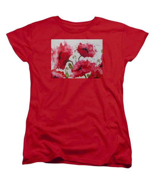 Party Poppies Women's T-Shirt (Standard Cut) by Karen Kennedy Chatham