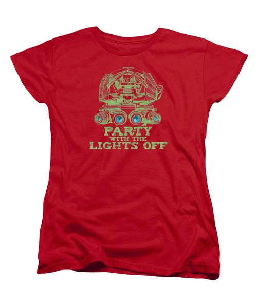 Women's T-Shirt (Standard Cut) featuring the mixed media Party With The Lights Off by TortureLord Art