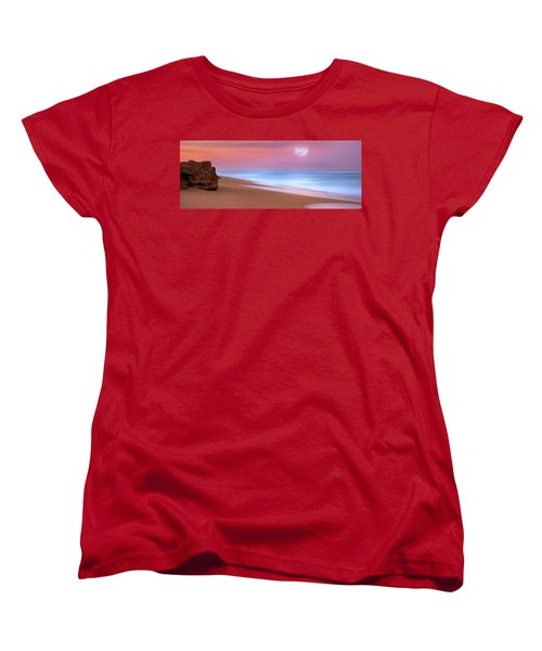 Pastel Sunset And Moonrise Over Hutchinson Island Beach, Florida. Women's T-Shirt (Standard Cut) by Justin Kelefas