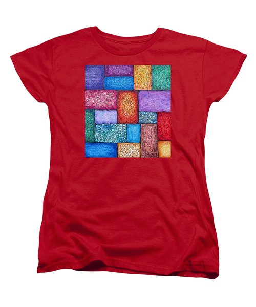 Women's T-Shirt (Standard Cut) featuring the drawing Patchwork by Megan Walsh