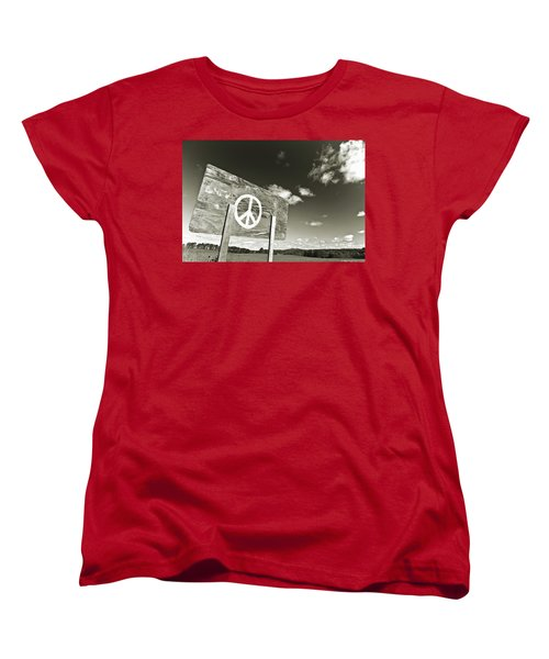 Peace Sepia Women's T-Shirt (Standard Cut)