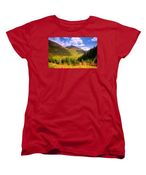 Peaceful Sunny Day In Mountains. Rest And Be Thankful. Scotland Women's T-Shirt (Standard Cut) by Jenny Rainbow