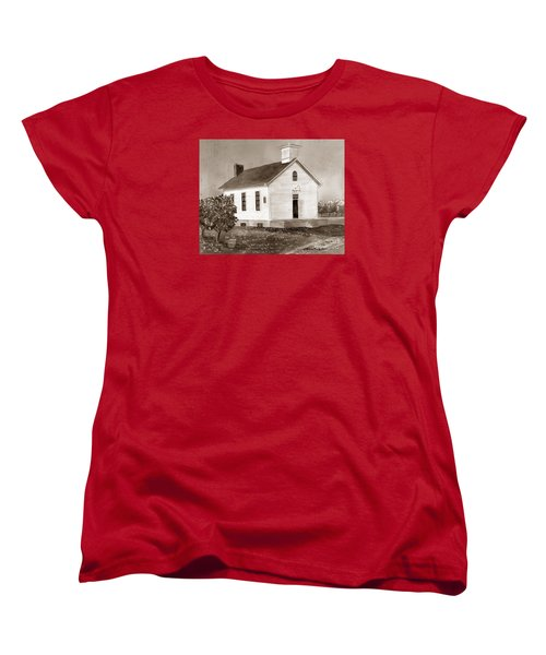 Women's T-Shirt (Standard Cut) featuring the painting Peach Grove School Sepia by LeAnne Sowa